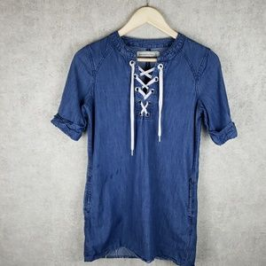 Abercrombie and Fitch denim lace up top